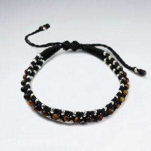 Bracelet Coton Macramé Ciré avec Améthyste et Perles d'Argent Noir