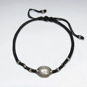 Bracelet Coton Macramé Perles Argent Noir