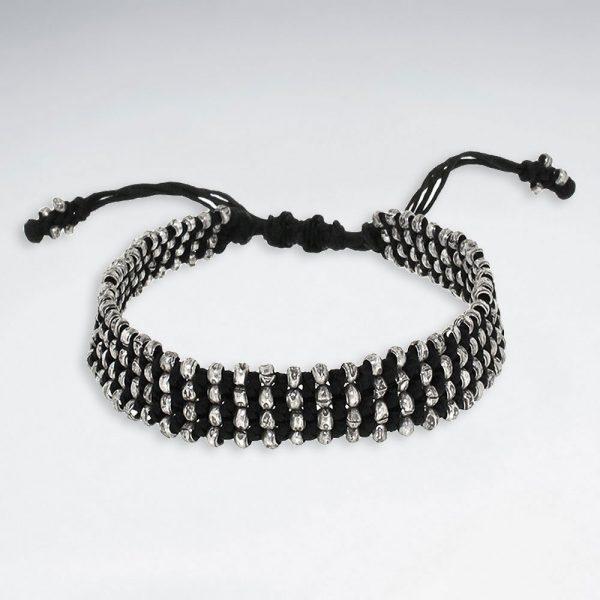Bracelet Coton Macramé avec Perles en Argent faits à la main