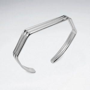 Bracelet Jonc Angulaire En Argent