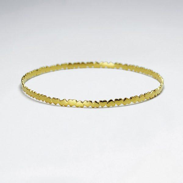 Bracelet Jonc Fin en Argent Motif Coeur Or 1