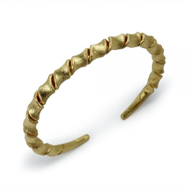 Bracelet Jonc Spiral Torsadé Exclusif Plaqué Or