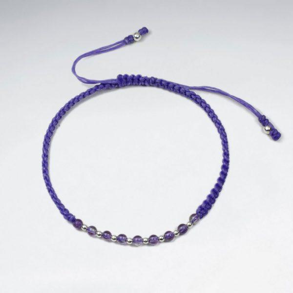 Bracelet Macramé Coton Ciré avec Pierre Gemme et Alternant Perle Argent