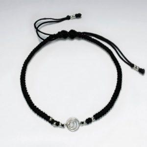 Bracelet Macramé Nylon Cercles Centré Ouverts en Argent Noir