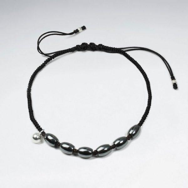 Bracelet Macramé Nylon Noir avec Perle Argent et Ovale Hématite