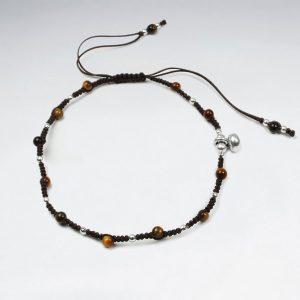 Bracelet Macramé Nylon en Perle en Argent avec Alternance Oeil du Tigre