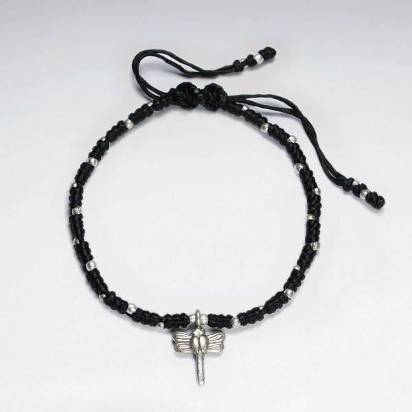 Bracelet Macramé en Coton Ciré avec Dragon en Argent