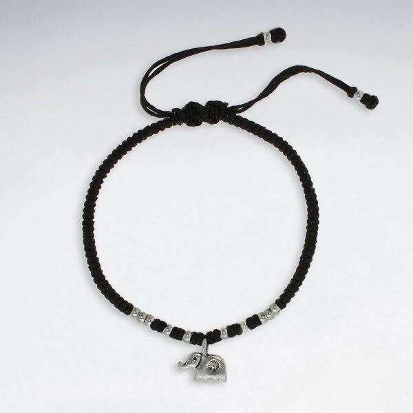 Bracelet Macramé en Coton Ciré avec Elephant en Argent