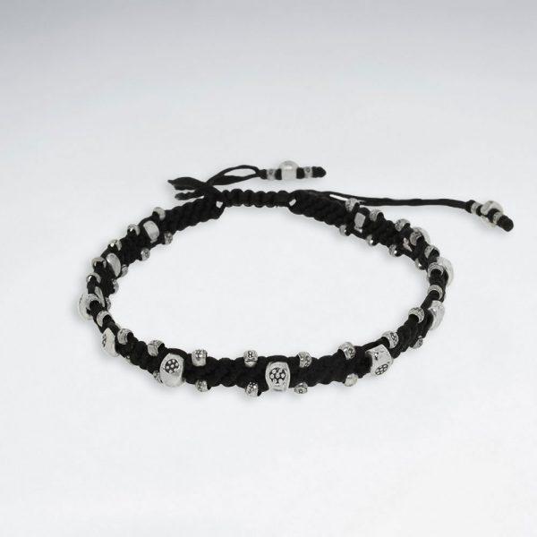 Bracelet Macramé en coton ciré avec perles en Antique