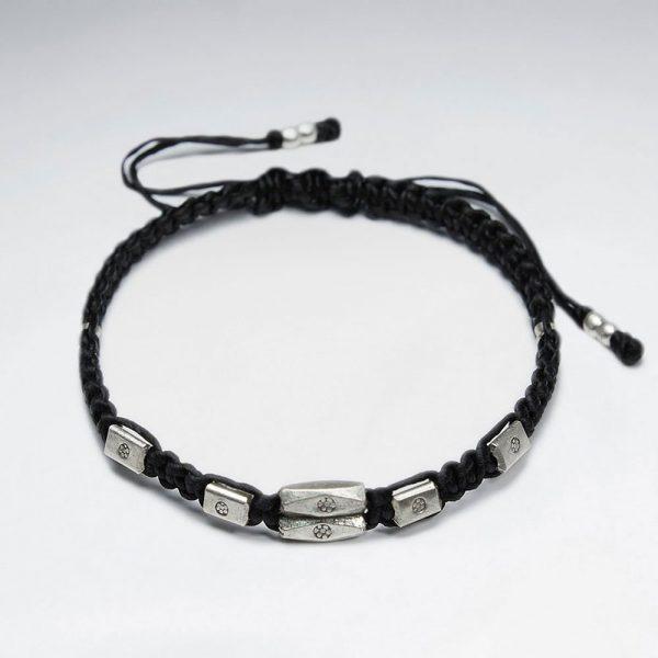 Bracelet Macrame Coton Ciré avec Antique Argent Tube Fait Main