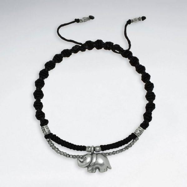 Bracelet Macramé Coton Ciré avec Perles Antique Elephant