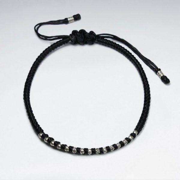 Bracelet Macramé en Coton Ciré avec Perles Argent Fait Main