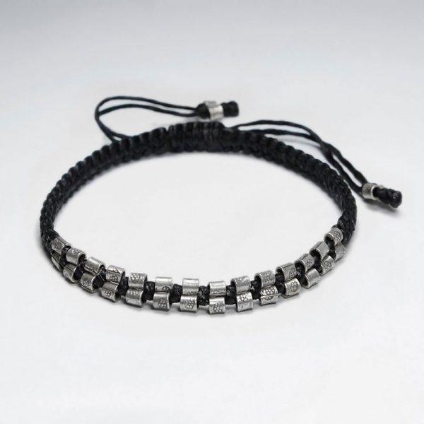 Bracelet Macrame en Coton Ciré avec Perle Antique Fait Main