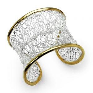 Bracelet Manchette Fil d'Argent Plaqué Or Exclusif