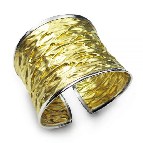 Bracelet Manchette Ouvrir Ondulation Plaqué Or Exclusif