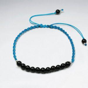 Bracelet Nylon avec Perle Pierre Noir Bleu