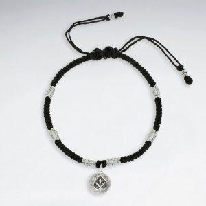 Bracelet en Coton Ciré Macramé avec Perle en Argent Feuille de Cannabis