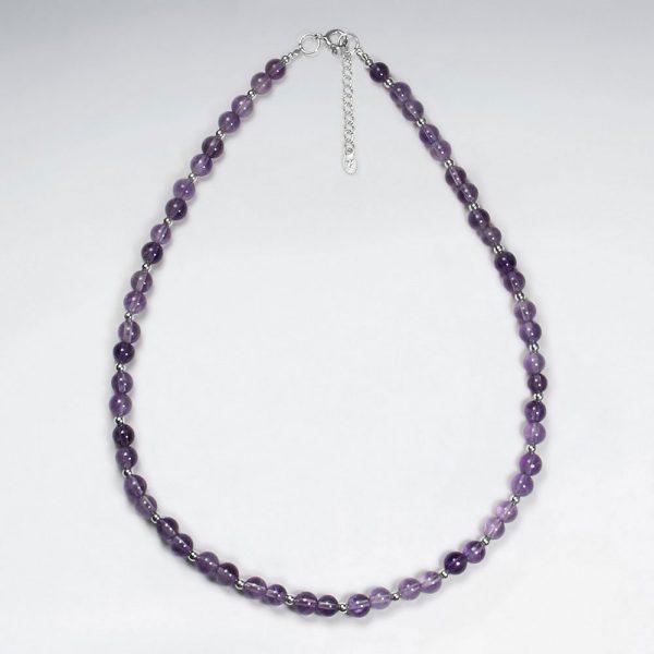 Collier Argent Perles Violet Améthyste