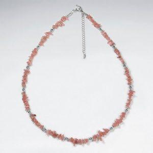 Collier Argent avec Perle de Rhodochrosite