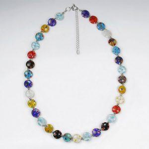 Collier Argent avec Perles de Verre Multicolore