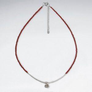 Collier Argent avec des Perles de Verre Rouge Vif et Pendentif