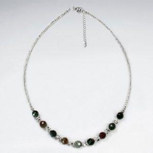 Collier Argent de Perles Jaspe Fantaisie