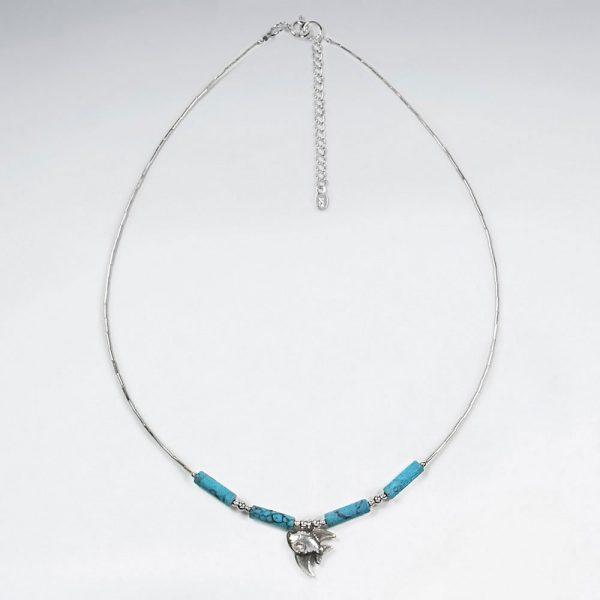 Collier Avec Perles Tube et Turquoise Pendentif Poisson Argent