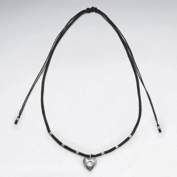 Collier Coton Macramé avec Perles Argent et Pendentif Coeur