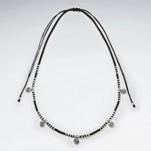 Collier Coton Macramé Perles Pendentif Argent