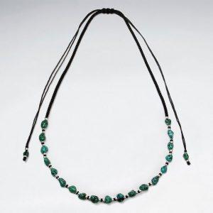 Collier Macramé en Coton Cirée avec Perle Turquoise et Breloques en Argent