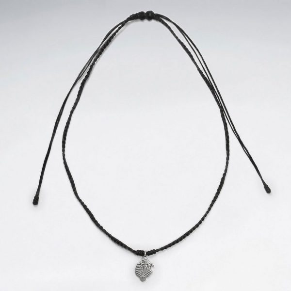 Collier Macramé en Coton avec pendentif Argent