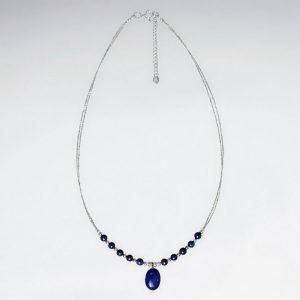 Collier Perle Lapis Lazuli et Perles Breloques en Argent