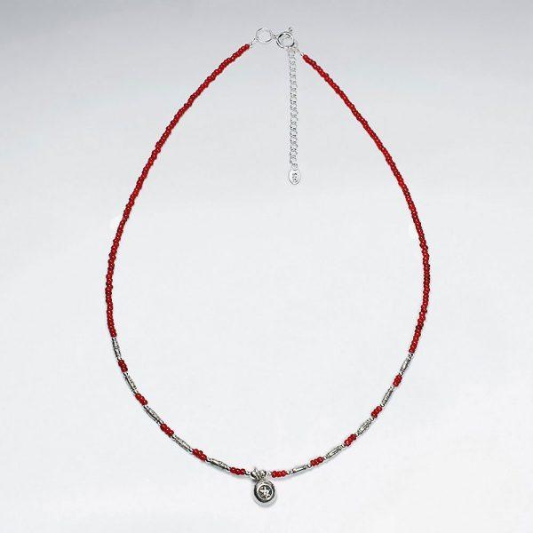 Collier Perle Verre Rouge et Breloques en Argent
