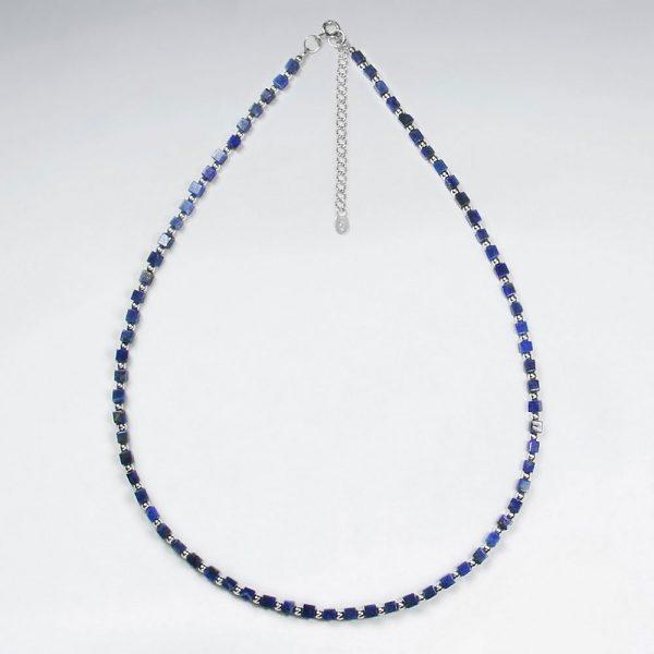 Collier de Perles Lapis Lazuli en Argent 925