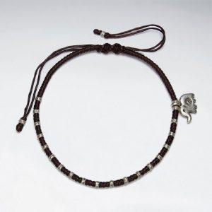Coton Ciré Bracelet avec Motif Perles d'Argent et Elephant