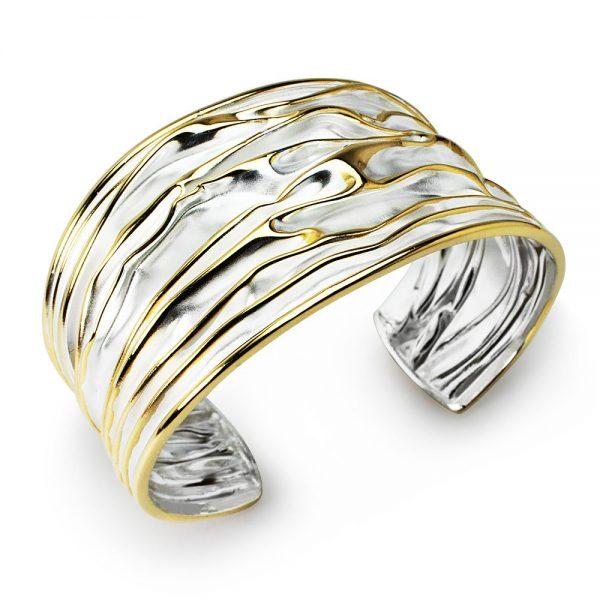 Bracelet Manchette Collection Exclusif Argent Et Or