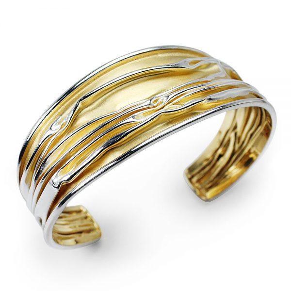 Bracelet Manchette Collection Exclusif Or Et Argent