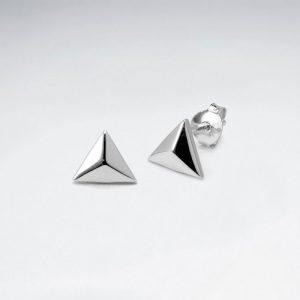 Puce d'Oreilles 3D Triangle en Argent 925
