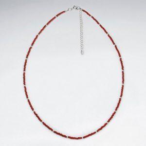 Ravissant Collier Perle Verre Rouge en Argent