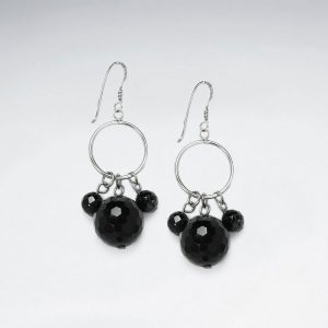 black stone faceted ball charms and silver hoops dangle earrings p4478 12937 zoom