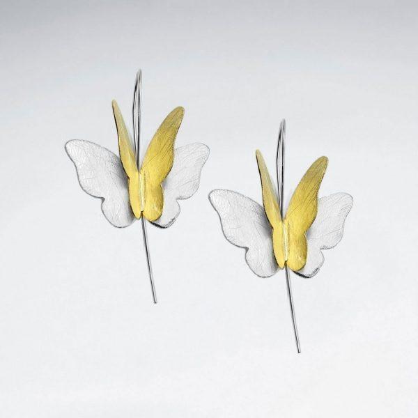 Boucles doreilles Papillon Argent Brossé Plaqué Or