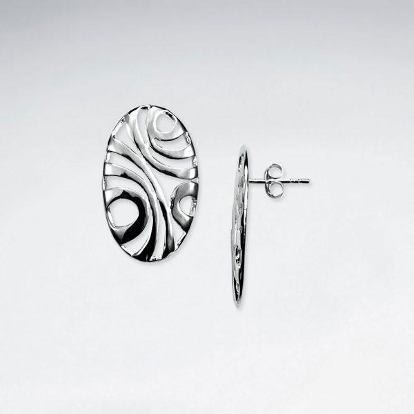Boucles dOreilles Argent Exotique Forme Ovale 1