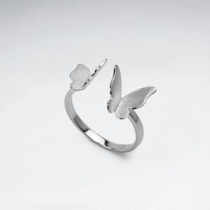 matte silver high polished double butterfly open ring p6151 19186 zoom