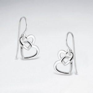Boucles dOreilles Coeurs Ouvert Entrelacés en Argent BES2870