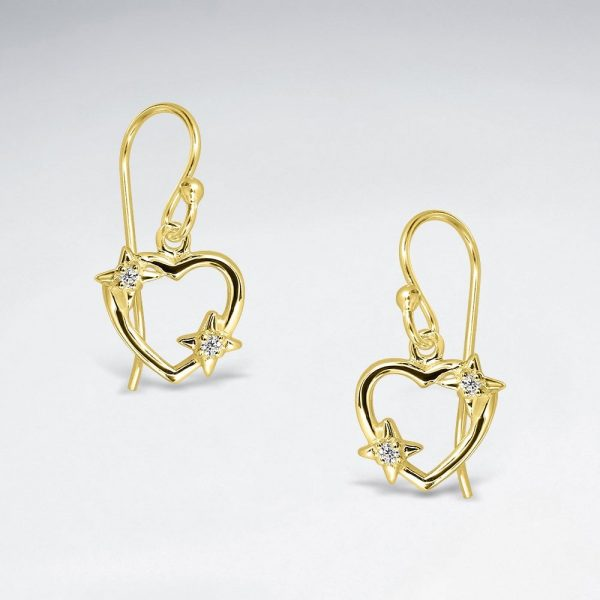 Boucles dOreilles Coeurs Ouvert Star en Argent BE5007Y