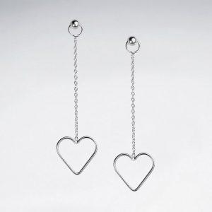 Boucles dOreilles Pendante a Chaine et Coeur