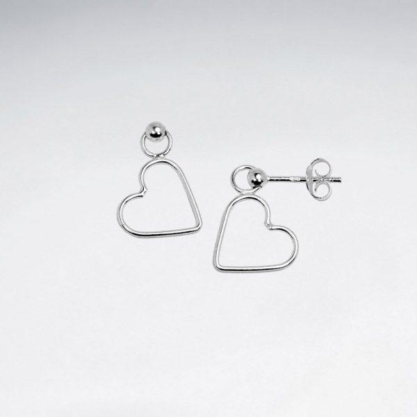 Boucles oreilles Pendante en argent avec Coeur Ajourée BSE2305A
