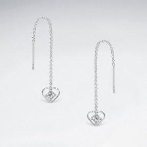 Files dOreilles Chaine a Coeur Ouvert Incrusté Cristal Zircon