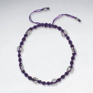 bracelet de cheville réglable en coton ciré macramé violet avec perles dargent antique