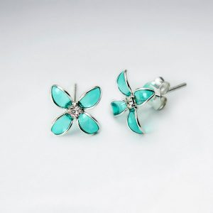 Boucle Oreille Argent Fleur Bluets en émail Vert